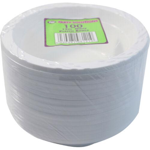 200 x WHITE PLASTIC BOWLS 12oz 15cm DISPOSABLE CATERING PARTIES PARTY SUPPLIES