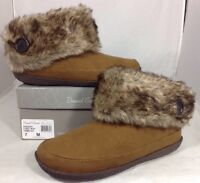 Daniel Green Faux Suede Women's Boots Size 7 Brown Fur Slipper Shoes Tread