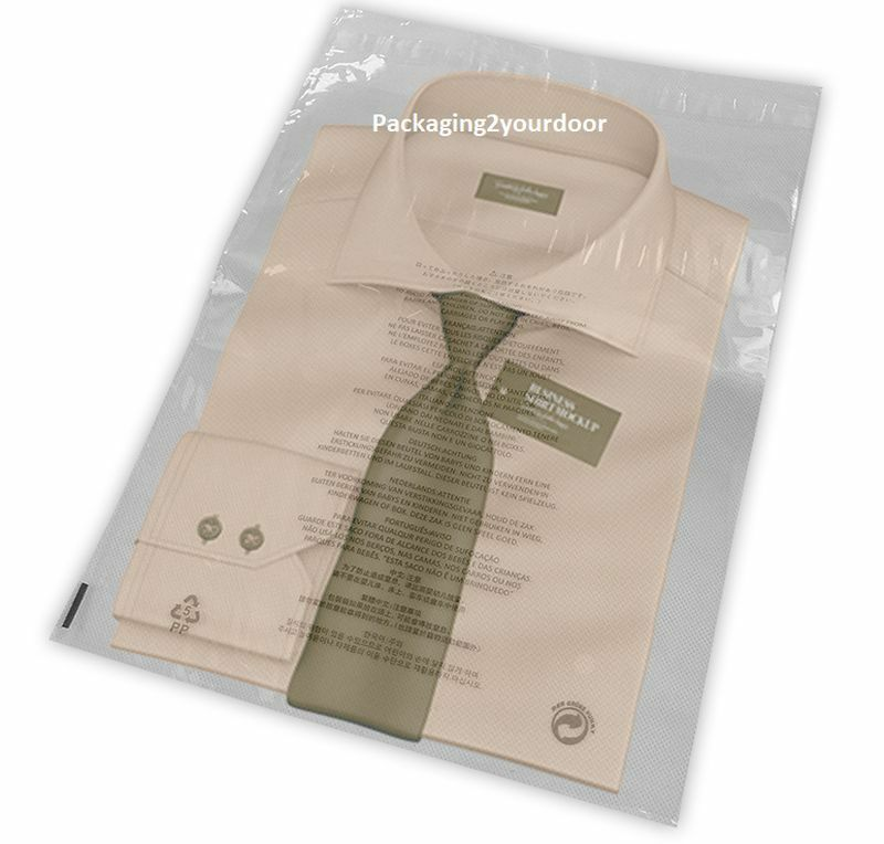 Clear T-Shirt Garment Bags 11 Languages 12  x 16  305 x 406mm (38mu) Choose Qty