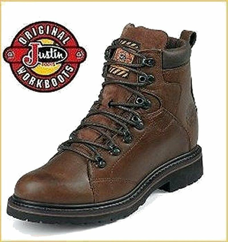 Justin para hombre WK924 Marrón Trampero Piel de vaca botas de trabajo 8EE Nuevo