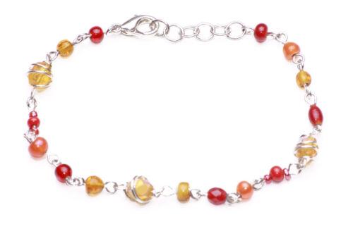 zx49 Nueva Moda Boho Estilo Rojo Y Naranja Beads Pulsera De Plata Alambre Cadena