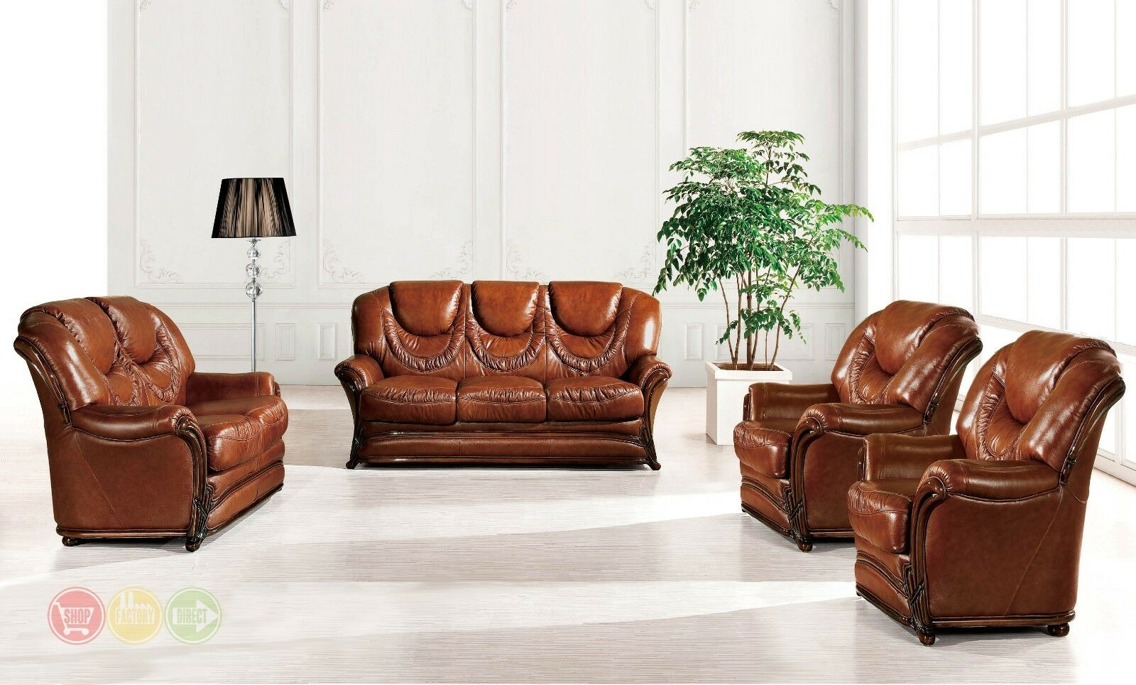 Bella Italian Leather Sleeper Sofa Loveseat 2 Chairs 4pc Set Carved Wood  Accents
