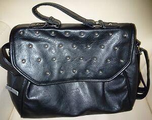 602c72e7d449c Das Bild wird geladen Damen-Schulter-Henkel-Tasche-Handtasche-schwarz-silber -Nieten-