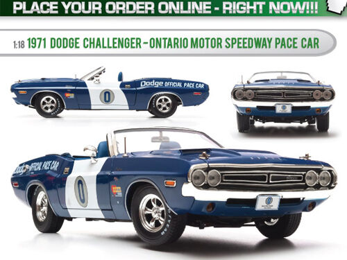 1971 DODGE CHALLENGER ONTARIO SPEEDWAY PACE CAR 1 18 Ltd 1500pc verdeLIGHT 12871