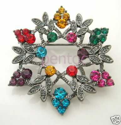 Fashion Jewelry Pins & Brooches Radient Fs351 Colorful Snowflake Brooch Pin Fashionable And Attractive Packages