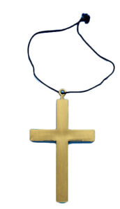New Unisex Monks Reverend Cross Gold W Necklace Halloween Fancy Dress Accessory