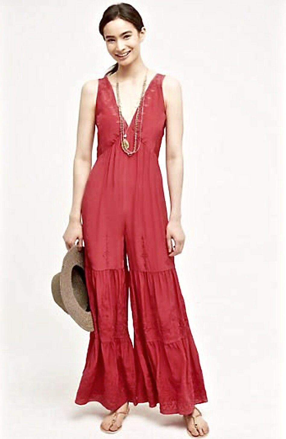 NWT Anthropologie Elevenses pinky red Silk Embroidery Tier Wide Leg Jumpsuit S