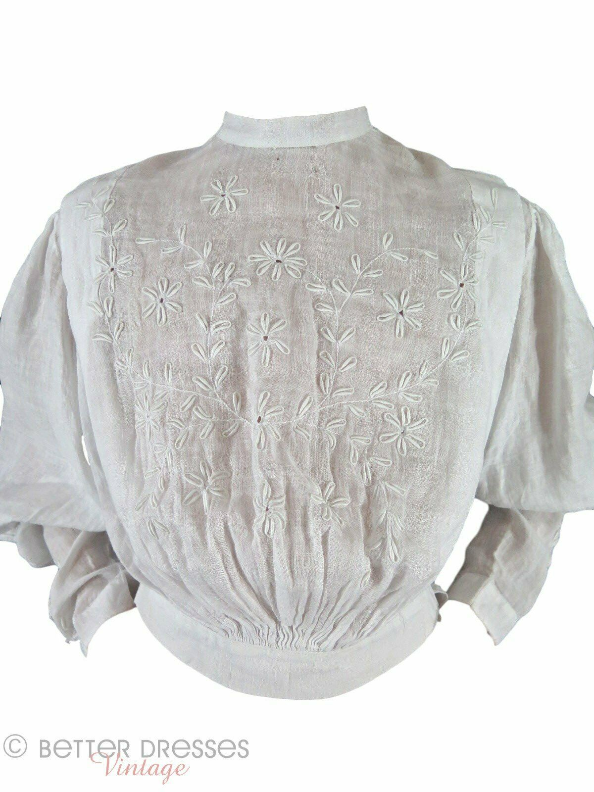 Antique Embroidered Blouse - xs, sm - image 3