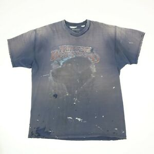 Destroyed-Sun-Faded-Hunter-Black-Lab-T-Shirt-LARGE-Grunge-Paint-Distressed