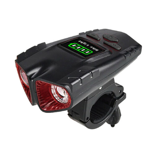 USB LED Bike Headlight 120DB 6-Sound Horn Bicycle Front Light Lamp Computer