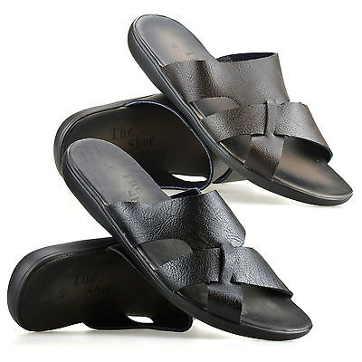 7323f4d21 Mens Gladiator Sandals Summer Beach Cushioned Walking Slip On Mules Shoes  Size