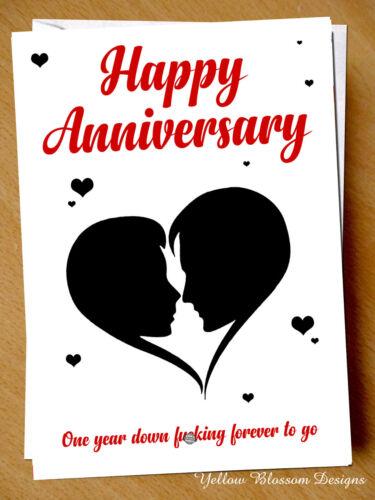 Anniversary Card Love Funny Cute Girlfriend Boyfriend 1st One Year Husband Wife