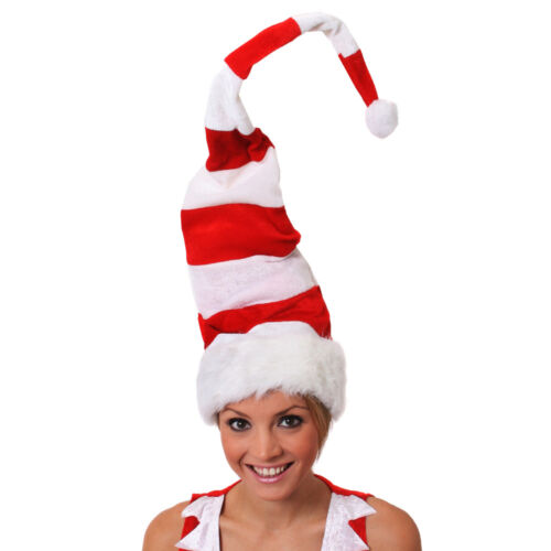 SANTA HAT TALL WIRED RED AND WHITE STRIPED CHRISTMAS FANCY DRESS SECRET SANTA