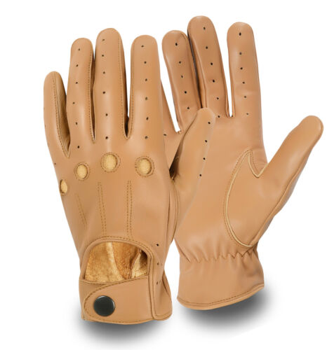 DRIVING GLOVES REAL SHEEP NAPPA LEATHER CHAUFFEUR RETRO MEN/'S DRESS FULL FINGER