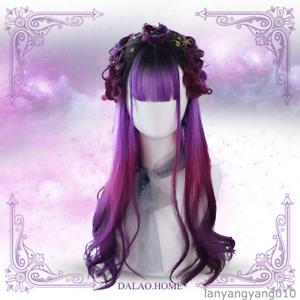 Japanese Cosplay Pink Purple Long//Short Curly Hair Lolita Sweet Girl/'s Daily Wig