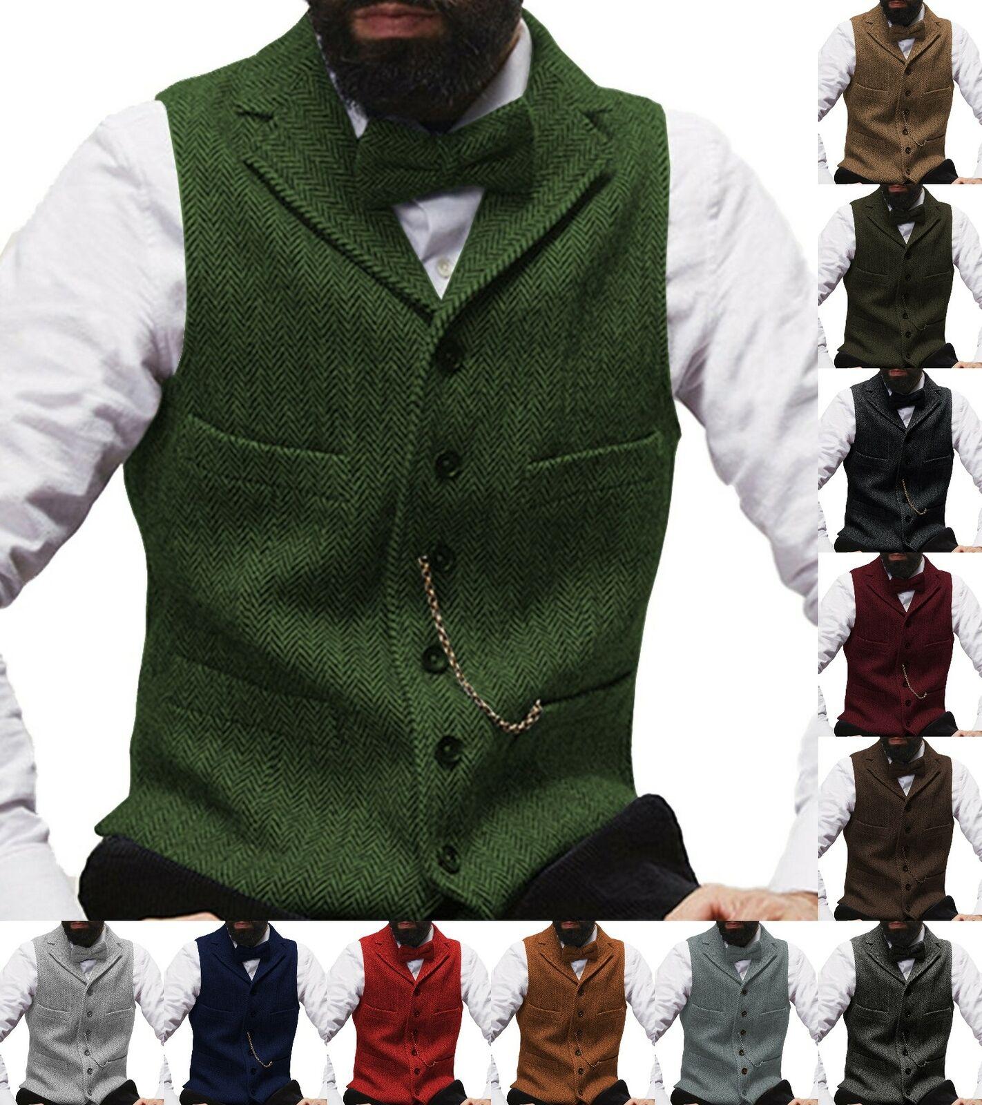 Mens Tweed Waistcoats Herringbone Vests Vintage Wool Notch Lapel Business S-3XL+