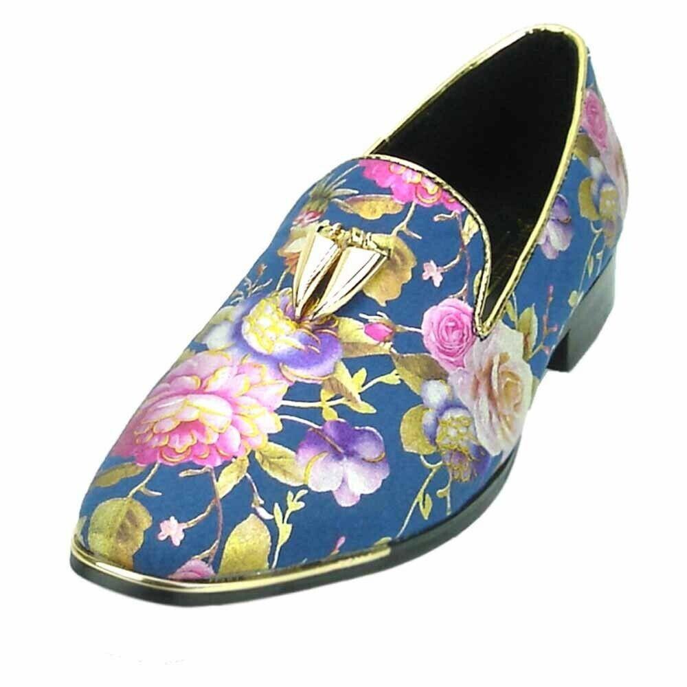 Fiesso Men  blu Floral Design oro Metal Tassel Tassel Format Slip on Loafer Fun scarpe  100% autentico