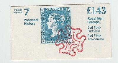 GB STAMP BOOKLET Postmark History No 7  SG FN6  A  selvidge