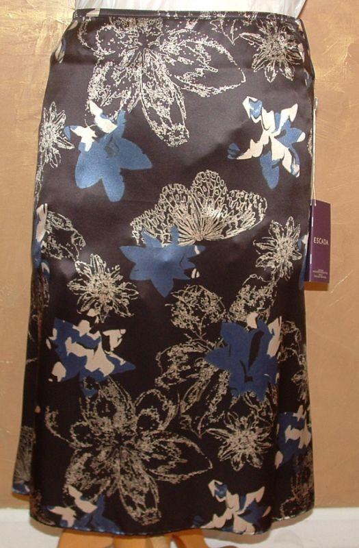 Escada Raso Seda Brwn Azul Floreado Cola  Falda 44  560  marcas de moda