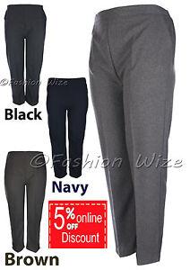 Sizes-8-30-Ladies-Half-Elastic-Generous-Fit-Plus-Fit-Waist-Comfort-Fit-Trousers