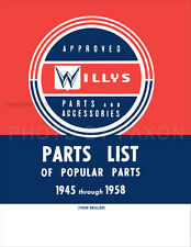 1945-1958 Jeep Willys Illustrated Popular Parts Book Catalog CJ Truck Wagon Car