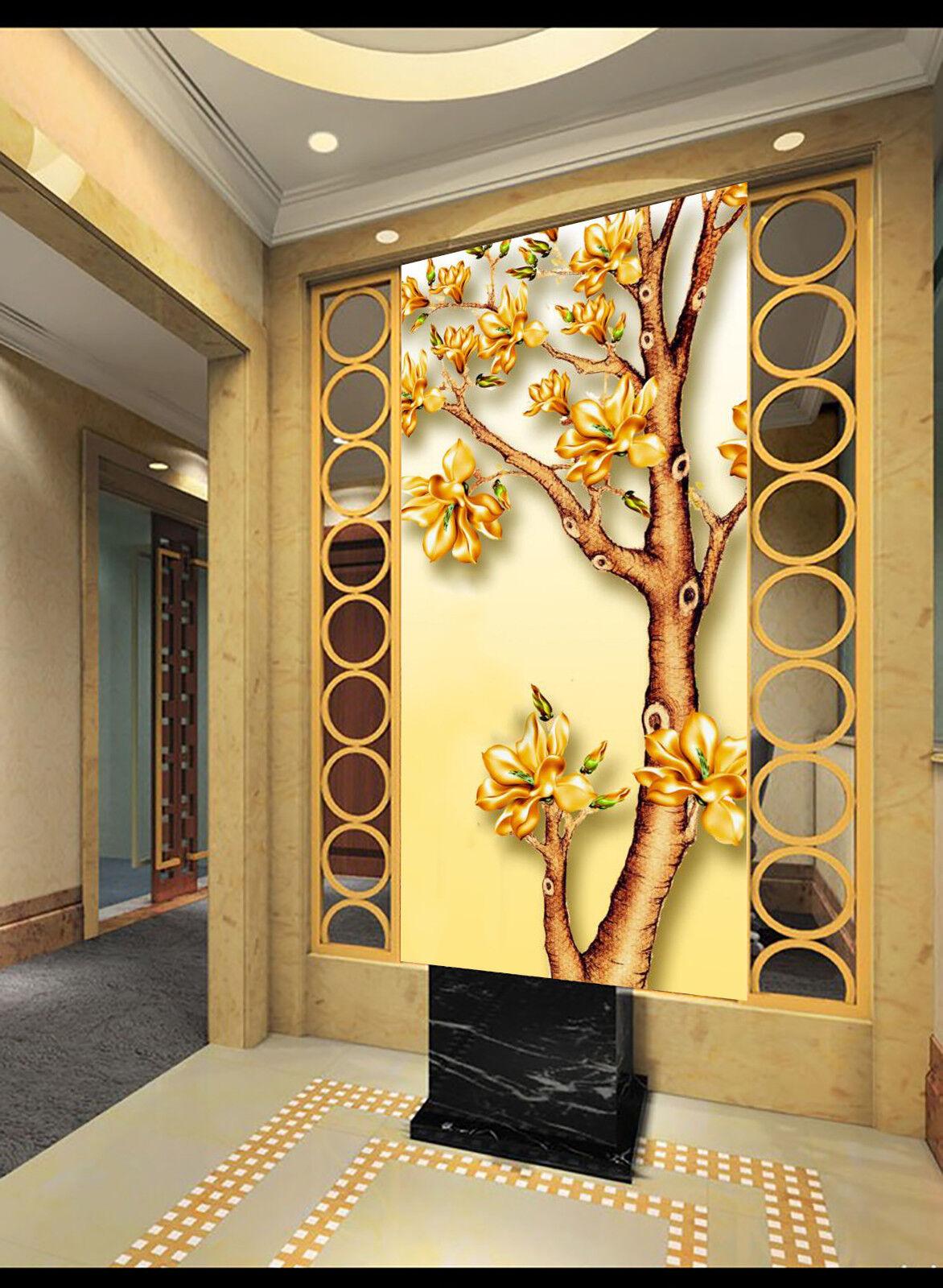 3D Golden Flower 97 Wallpaper Mural Wall Print Wall Wallpaper Murals US Carly
