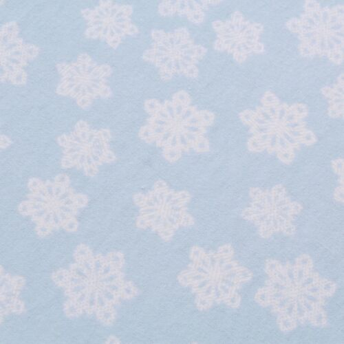 """Soft Printed Brushed Cotton Winter Snowflakes Sky Blue 42/"""" Christmas"""