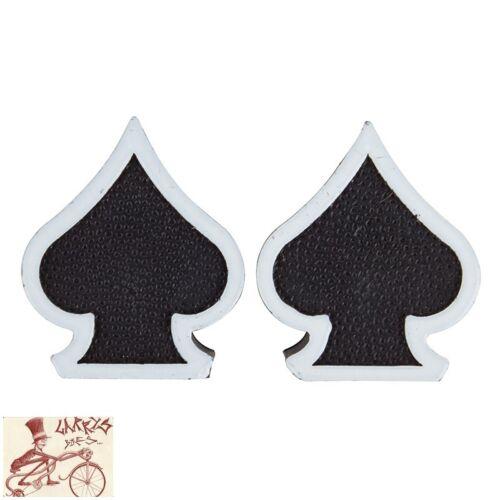 TRICK TOPS SPADES BLACK  CAR BIKE BICYCLE VALVE CAPS--1 PAIR