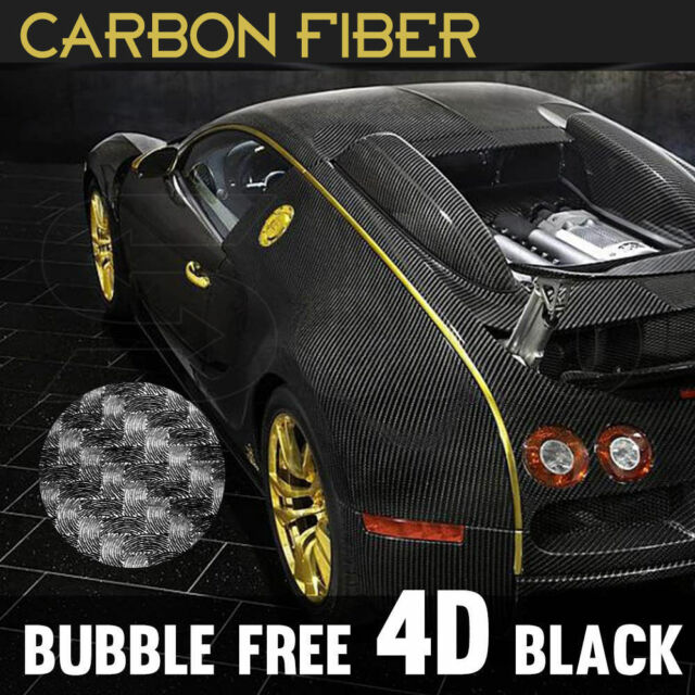 50cm x 1.51M 4D Gloss Black Carbon Fibre Fiber Vinyl Car Wrap Air Release Film
