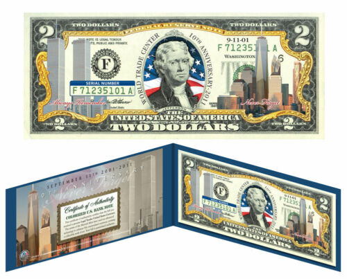Freedom Tower Bill *10th Anniversary* WORLD TRADE CENTER 9//11 Colorized $2 U.S