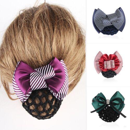 Femmes dentelle fleurie Satin Housse Noeud Barrette Pince à Cheveux Noeud Net Bun Snood