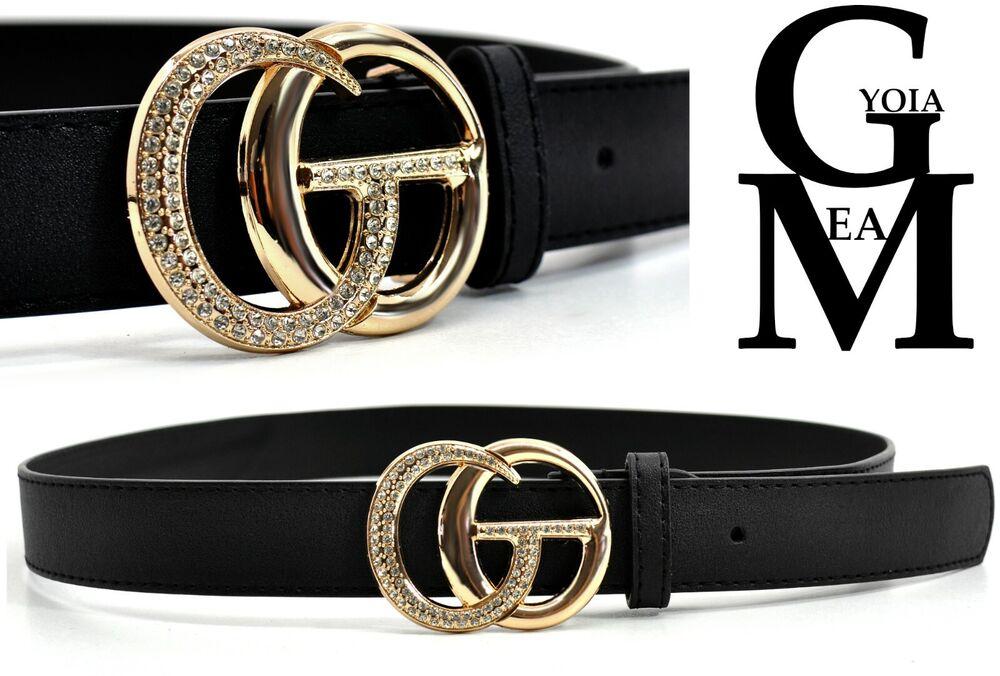 MéThodique Cintura Pelle Donna Nera Vintage Fibbia Oro Alta Doppia G Cg Nuova Cinturino Design Moderne