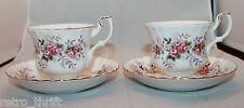 Royal Albert Bone China Lavender Rose 2 Coffee Tea Mug Cups Sauces Set England