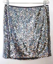 f4c78136ed5f NWT $140 White House Black Market Silver Sequin Mini Skirt, 19