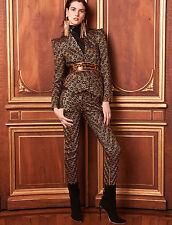 BALMAIN PARIS $2,985 gold diamond embroidered pants jacquard trousers 40-F/8 NEW