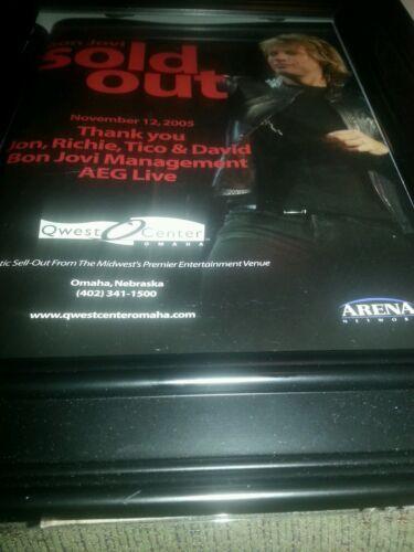 Bon Jovi 2005 Framed Concert Promo Ad For Qwest Center Omaha, Nebraska