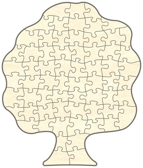 Blanko Holz-Puzzle Baum 65 Teile 29x34 cm zum Selbst Bemalen und Gestalten