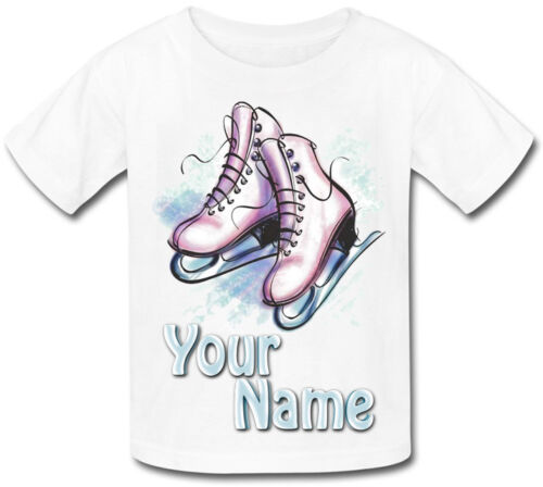 SKATES PERSONALISED KIDS T-SHIRT ICE SKATING GREAT GIFT FOR ANY CHILD /& NAMED