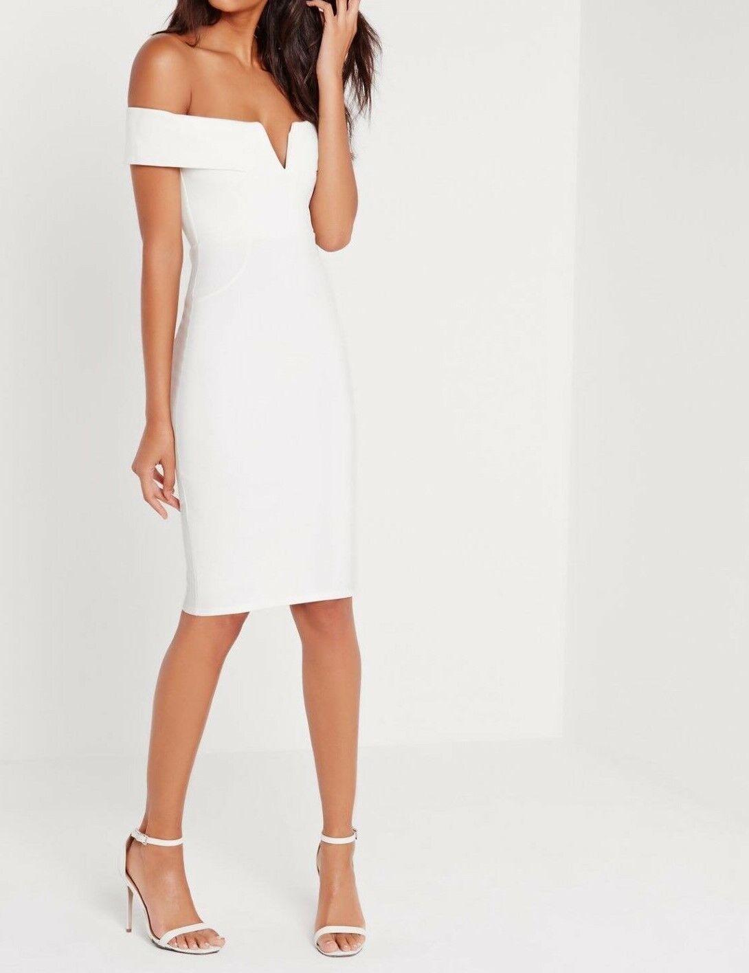 Missguided V Front Bardot Vestito Attillato Bianco Bianco Bianco Noi 8 Eu 40 (Camg163.1) e2b274