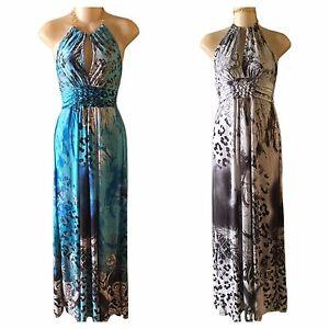 16d0e09938 Women s Black White Blue Long Summer Animal Print Maxi Dress S M L ...