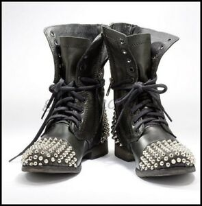 Vintage-Womens-Punk-Leather-Rivet-Studded-Ankle-Boots-Motorcycle-Flats-Shoes-AU