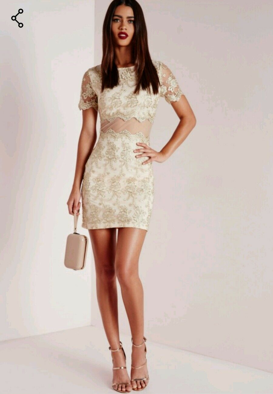 Missguided premium embroidered lace mini dress gold Size 8 New With Tags RRP