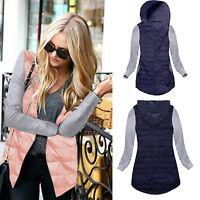New Ladies Hooded Hoody Outwear Warm Thin Womens Zip Quilted Jacket Coat UK 6-16