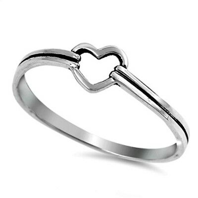 .925 Sterling Silver Ring size 9 Heart Midi Knuckle Ladies Thumb Love New pp10