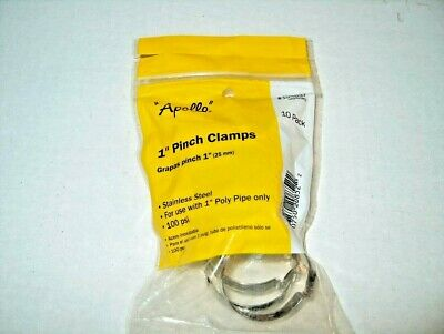 Stainless-Steel Poly Pipe Pinch Clamps 10-Pack Apollo 1 in