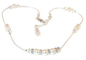 CLEAR-AB-Crystal-amp-CREAM-Pearl-Anklet-Sterling-Silver-Swarovski-Elements