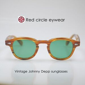 5bdbcc4f908 Image is loading Retro-Vintage-sunglasses-Johnny-Depp-eyeglass-blonde- glasses-