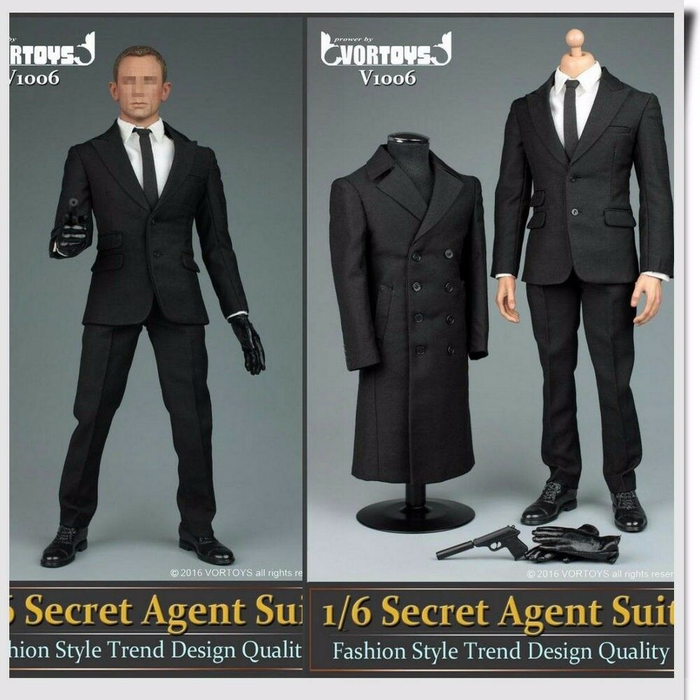 1 6 Hombres Camisa De Abrigo Negro blancoo Zapatos ropa traje de agente establecido para 12  Hot Juguetes