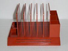 Max Klein Vintage Desk Table Orange Organizer Pen Letter File Plastic 5 Slot Usa