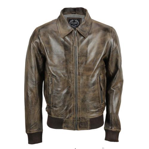 Tan Brown Mens Soft Real Leather Collar Bomber Jacket Vintage Biker Style Black